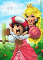 Peach and Toads Hug by Yoell