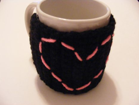 pink heart coffee cup cozy by dimplegirldesigns