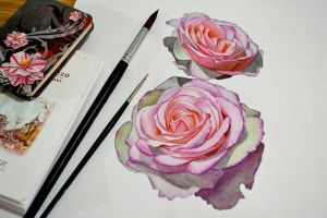 Watercolor roses by Rustamova