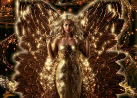 Golden winged angel by Sinphie