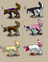 Adoptables 5 points each by Terohime