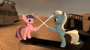 Twilight Vs. Trixie: Lightsaber face-off by Chatterbeast