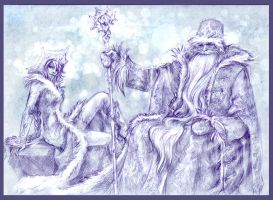 Grandpa Frost and Snegurka by MamonnA