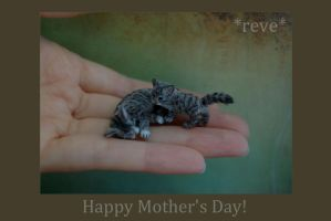 Handmade Miniature Cat and Kitten Sculptures by ReveMiniatures