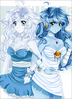 OCs--- Ghost sisters by Purrinee