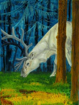 Reindeer in a Forest Glade by OsaWahn