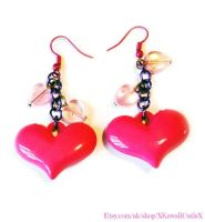 Barbie Hot Pink and Purple Cute Heart Earrings by xhellojackiex