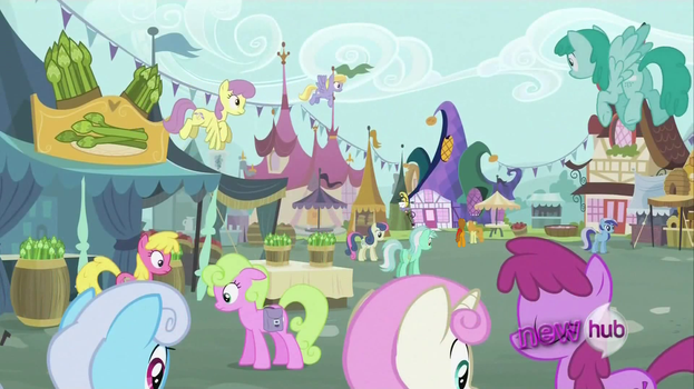 Background ponies in the market by ELdestiniano2014