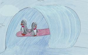 Surfing Penguins by RowanFiretamer