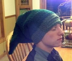 My brother with a Link hat by TinyHatter
