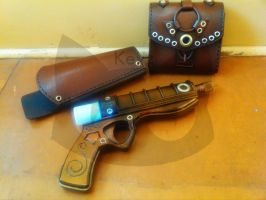 Steampunk Pistol, Holster and Belt Bag by knivelajfao