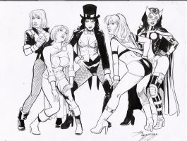 black canary, power girl,zatan by amorimcomicart