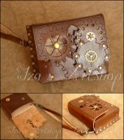 Small Steampunk Leather Clutch by izasartshop