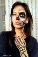 Half skull makeup by VisualJamie