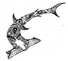 hammer shark polynesian design by jeraud92140