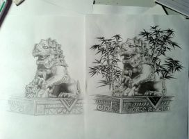 foo dog statue sketch by CalebSlabzzzGraham