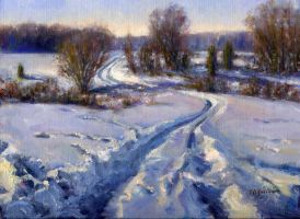 Tony D'Amico - Snow Tracks - 9x12 - $2,000[1] by OilPaintersofAmerica