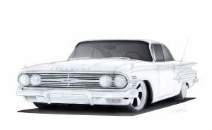 1960 Chevrolet Impala Pro-Touring Drawing by Vertualissimo