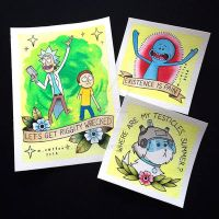 Rick and Morty Tattoo Flash by Michelle Coffee by misscoffee