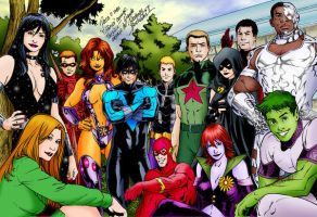 Dream Team Teen Titans_colored by Buchemi