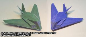 Green Earth+Blue Moon Stealths by ninjatoespapercraft