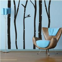 Birch Trees with Single Bird Wall Decal Set by ahamiltonmsh