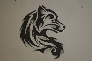 tribal wolf tattoo by forever-broken92