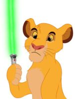 Simba and Light Sabre by CreativeCatFX