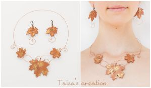 Necklace and Earrings Set ''Copper Maple Leaves'' by Taisa-Winged