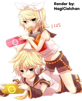 Rin and Len render by NagiCielchan