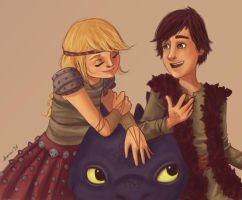 Hiccup and Astrid and Toothless too by twinklepug