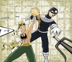 Iron Fist vs Bullseye by RightHandOfDoom