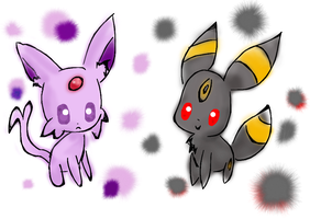 Espeon and umbreon by Kat-The-Piplup