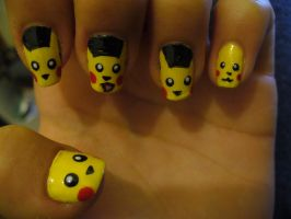 Pikachu nails by Lena-LU