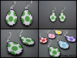 Yoshi Egg Earrings by Pixelosis