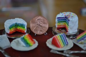 Old vs. New Rainbow Cakes 1:12 Scale by abohemianbazaar