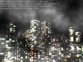 Foggy 3D city at night by ibr-remote