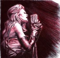 Ellen Aim - Streets of Fire pen drawing by HoshisamaValmor