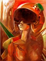 woman with helmet by monomauve