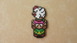 Link with Cucco - LoZ Perler Bead Sprite by MaddogsCreations
