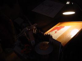 Den Drawing Desk in Darkness 2 by mertonparrish