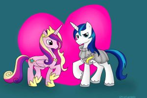 Princess Cadence and Shining Armor by BlueEyesNeko