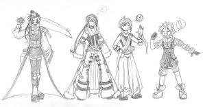 FFX- Genderbender team by Demyrie
