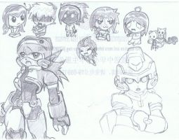 chibies and rockman by nobodykonwme