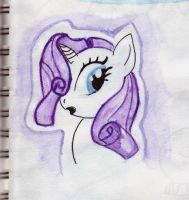 Rarity hiding her lost eyelash by Stupchek