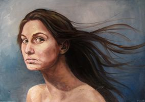 Study of a woman with flowing hair by marthablack