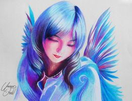 A bird fairy - colored pencils by f-a-d-i-l