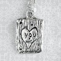Carved Heart Tree Trunk Necklace - You and Me by MonsterBrandCrafts