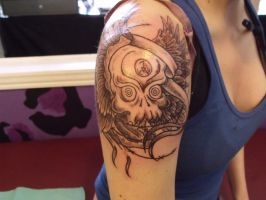 Skull w wings and banner 1 by IAteAllMyPaste