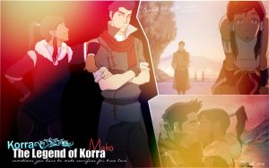 Korra and Mako wallpaper by Viciousdope